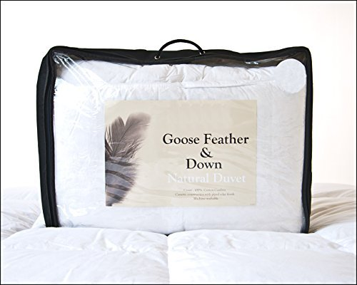 New White Goose Feather & Down Duvet 4.5 Tog DOUBLE SIZE - Luxury 250 Thread Count 100% Cotton Cambric Fabric from Lancashire Bedding by Original Sleep Company