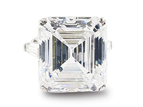 Adastra Jewelry 925 Sterling Silver 35 ct Asscher Baguette Elizabeth Taylor inspired Solitaire engagement Ring|Size 3 to 11 and half sizes