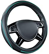 Car Pass Colour Piping Leather Universal Fit Steering Wheel Cover,Perfectly fit for Suvs,Vans,Tru...