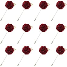 FM42 Multicolor Cloth 30mm Diameter Carnation Flower with Leaf Corsage Boutonniere Brooch Lapel Pin (9 Colors)