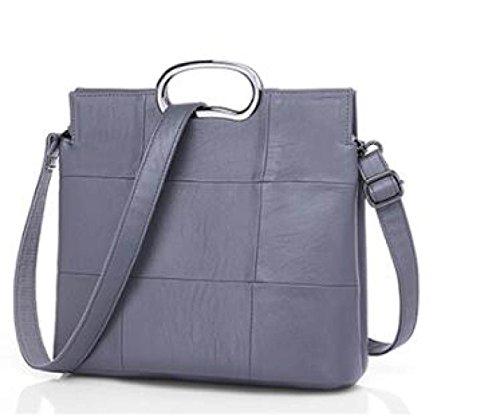 Frauen-Einkaufstasche-Schulter-Beutel-Art- Und WeiseRetro Elegante Große Kapazitäts-Beutel PU-Lederkurierbeutel Damenhandtasche Damen-große Tasche Gray