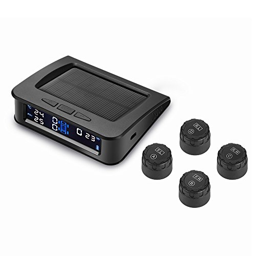 Fuel Monitoring System (TPMS Solar Power Universal, Wireless Tire Pressure Monitoring System with 4 DIY External Sensors(0bar-5.0bar/0psi-73psi), Real-time Displays 4 Tires' Pressure and Temperature TPMS)