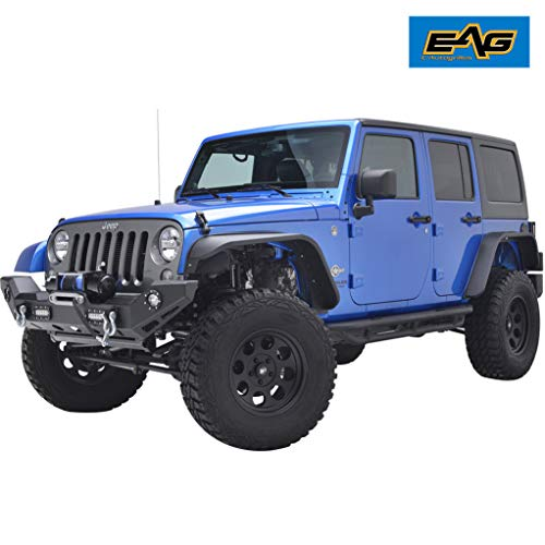 EAG Fit 07-18 Jeep Wrangler JK Front 2PCS Edge Steel Fender Flares