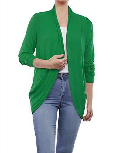 Kelly Ribbed Green (BH B.I.L.Y USA Women's Long Sleeve Open Front Shrug Sweater Cardigan Kelly Green XX-Large)