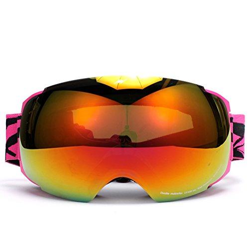 SE7VEN Snowboard Goggle,Lentilles Interchangeables Jour Et Nuit Générales Embellies De Lentilles Lentille Double Couche Anti-buée Lunettes Myopie Compatible B