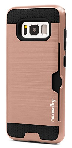 (Samsung Galaxy S8 Case Maxessory [Enhanced] Thin Rigid Tough Reinforced Protective Armor Cover W/Reinforced Bumper Easy-Access Card Holder Rose Gold Black For Samsung Galaxy S8 2017)