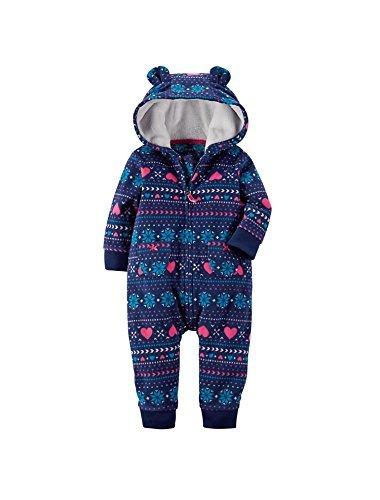 Carters Baby Girls Fair Isle Hooded Fleece Jumpsuit Pink 6M