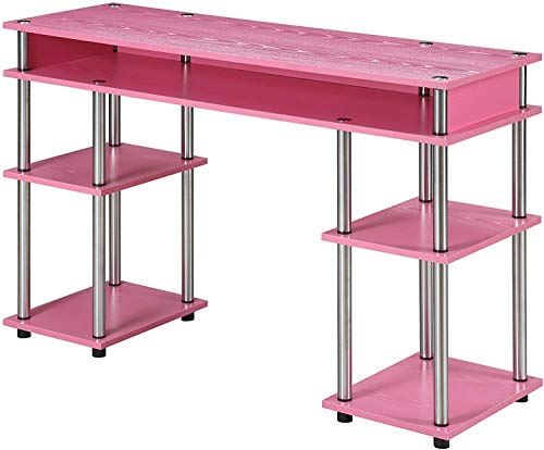 Convenience Concepts Designs2Go No Tools Student Desk, Pink (Purple Desk Computer)