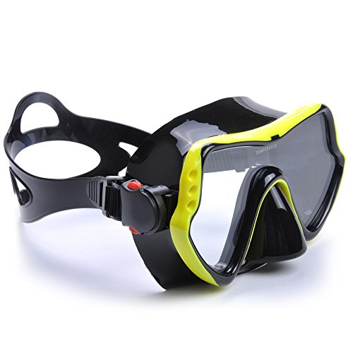 7d81614846 YFX Create Diving Mask Nose Cover Swim Goggles Scuba Freediving Swimming  Mask for Men Women Adult (Yellow)  Amazon.co.uk  Sports   Outdoors