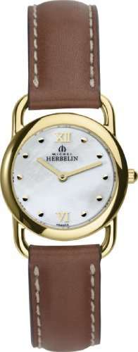 Michel Herbelin Women's Quartz Watch with Mother of Pearl Dial Analogue Display and Brown Leather Strap 17467/P19GO