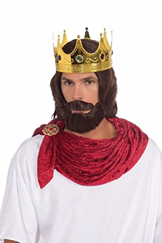 King Crab Adult Costumes (Royal King Wig Beard Moustache Brown Biblical Adult Men Prince Costume Accessory)
