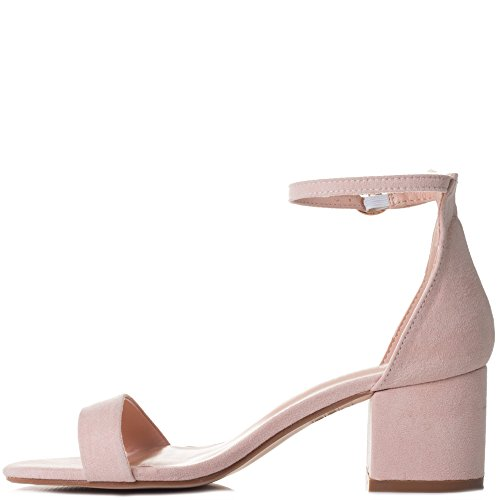 Spylovebuy Deserving Women's Buckle Barely There Block Heel Sandals Shoes Nude Suede Style a9NabK