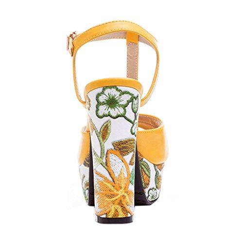 PU Correa Hebilla Mujer Casual Material Talones Talón Sandalias Amarillo Plataforma Alta Talones Vestido 83 ENMAYER g15UwxXYq5