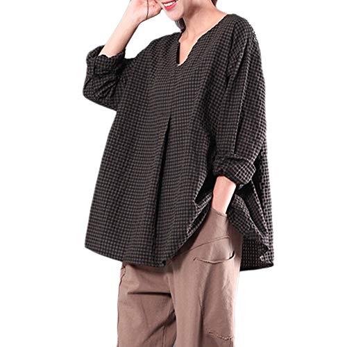kaifongfu Plus Size Tops,Women Loose Long Sleeve V Neck Cotton Blouse(GreenM)
