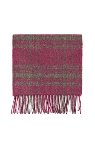 Check Cashmere (Great & British Knitwear 100% Cashmere Red & Olive Check Scarf. Made in Scotland)