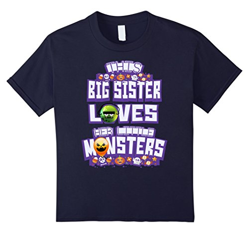 Kids This Big Sister Loves Her Little Monsters T-Shirt Halloween 12 Navy