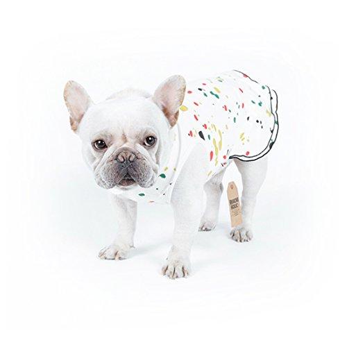 Polo Dog Dress - Oralpart Pet Fashion Fleece Skirt with Ruffle Dog Dress T-shirt Polo Clothes (S, White)