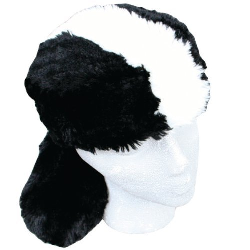 Teen/Adult Faux Fur Skunk Animal Hat Cap, Large, Black White, Lined]()