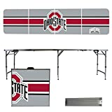 NCAA Ohio State University Buckeyes OSU Stripe Version 8 Foot Folding Tailgate Table,1234,Multicolored
