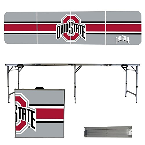 NCAA Ohio State University Buckeyes OSU Stripe Version 8 Foot Folding Tailgate Table,1234,Multicolored by Victory Tailgate