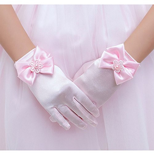 Gorgeous Short (Tandi Girls Gorgeous Satin Fancy Gloves for Special Occasion Dress Formal Wedding Pageant Party Short (Large, Pink))