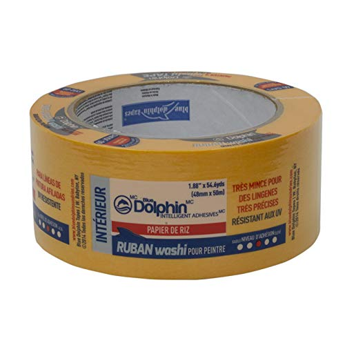 LINZER TP WASHI SP 0200 Blue Dolphin Rice Paper Washi Tape, 2'', 1.88'' x 54.6 yd