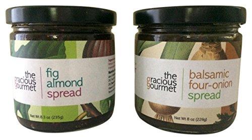 The Gracious Gourmet Fig Almond Spread/Balsamic Four Onion Spread, 16.3 Ounce