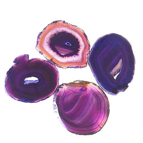 JIC Gem 3-3.5 Polished Purple Dyed Sliced Brazilian Agate Coasters Natural Geode with Rubber Bumpers Home Decoration Set of 4