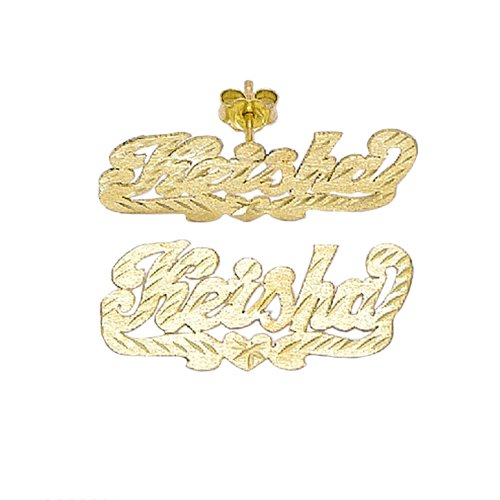 Jewelry Plate Earring Personalized Name (10K-Lee804 10 K/Y Gold 1