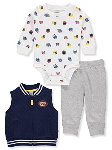Carter's Baby Boys' Vest Sets (12 Months, Football (Print Baby Rib)