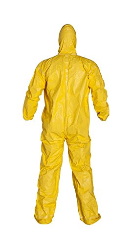 (6 EACH/SIZE 2XL) Tychem QC 2000 Chemical Resistant Coverall with Hood, Attached Boots, Elastic Wrists, Serged Seams, Front Zipper Closure with Strom Flap by Tychem (Image #1)