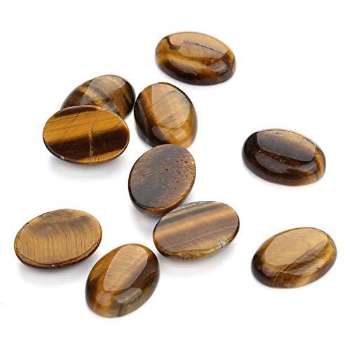 (Laliva 10PCS Natural Stone Cabochon Tiger Eye Oval 10X14 12X16 13X18 15X20 18X25mm Egg Shape DIY Jewelry - (Size: 18x25mm))