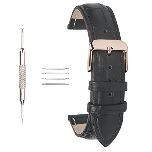 Ac Union ACUNIONTM 22mm Watch Strap Calfskin Replacement Leather Watch Band With Rose Gold Pin Buckle for Men Women Black