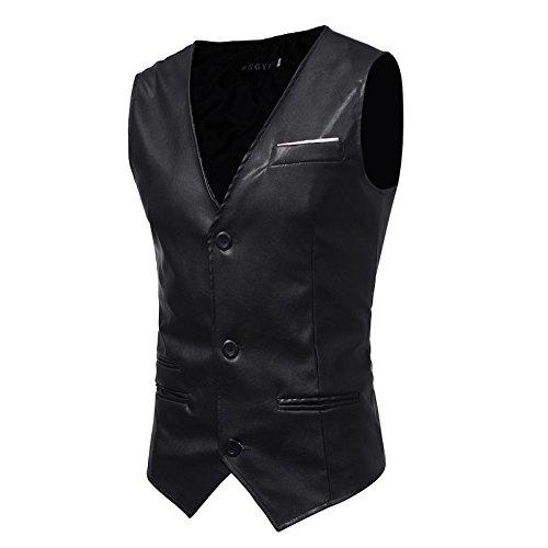 Männer - Slim - Anzug, Weste, Mann ist Einfachheit, self - anbau, pu Haut, Herr Weste,schwarz,2XL