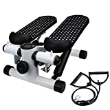Stair Stepper Exercise Equipment with Resistance Bands Ship from US Health Fitness Hydraulic Mute Stepper Twisting Action for Home Gym Use (Black)