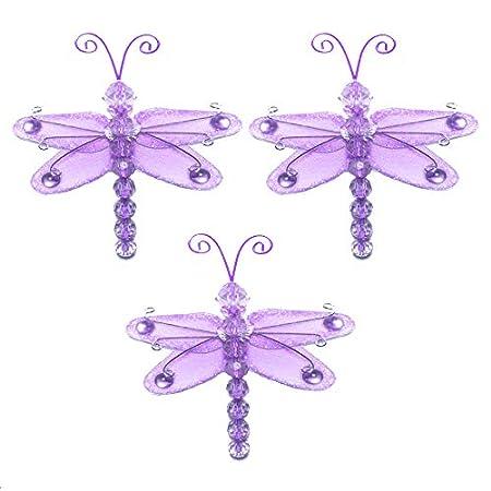 Dragonfly Decor 3 Purple Lavender Mini X Small Wire