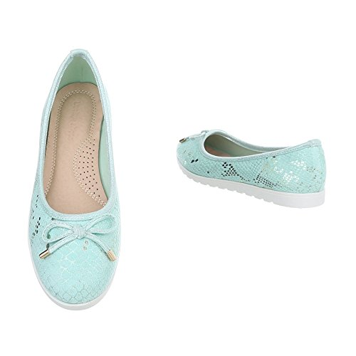 Ital-Design Zapatos Para Mujer Mocasines Plano Slip turquoise HH-93