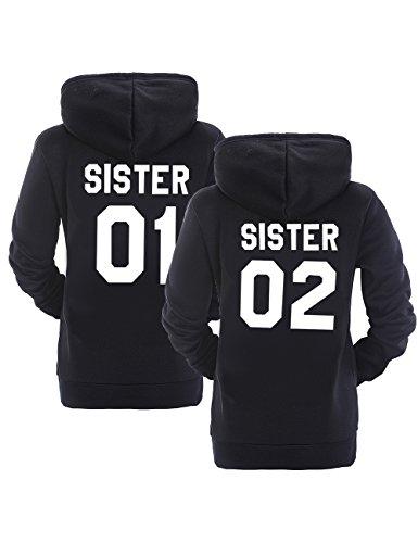Best Friend Hoodies BFF Hoodies Matching Couple Hoodies Teen Girls Sister (Black, 01-M+02-M)