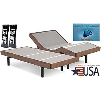 DynastyMattress S-Cape Adjustable Beds Set Sleep System Leggett & Platt, With 10-Inch Cool Breeze Gel Memory Foam Mattress-Split King Size