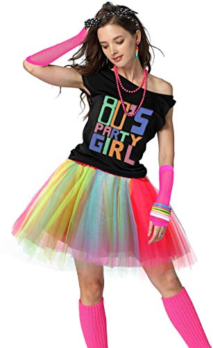 80's Party Girl Retro Costume Accessories Outfit Dress for 1980s Theme Party Supplies (L/XL, Rainbow)