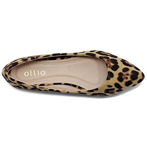 Ollio Women's Ballet Comfort Light Faux Suede Multi Color Shoe Flat