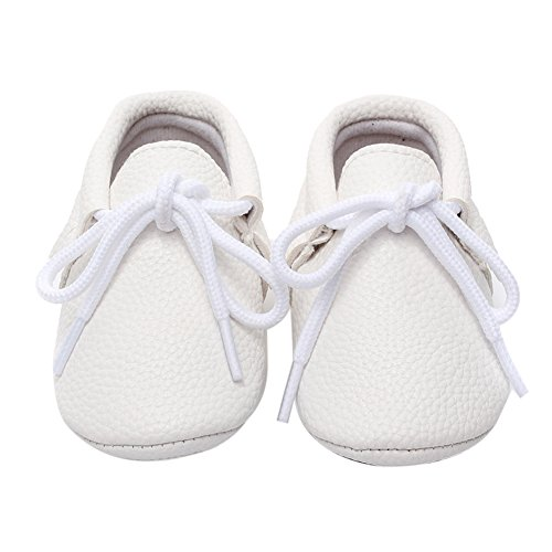 Diamondo Baby Prewalker Shoes Pure Color PU Hard Bottom Lace-up Pediatric Shoes (White, 6-12 Months)