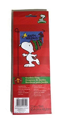 Peanuts Snoopy with Woodstock Happy Holidays Christmas Garden Flag 12 in x 19 in 30.4cm x 48.2cm by Peanuts