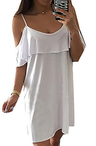 Spaghetti White Casual Mini Strap Women's Dress Ruffle Jaycargogo xTp4w50na0
