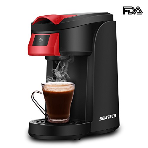 Individual Serve Coffee Maker, SOWTECH One Touch Operation Coffee Machine for Most single cup pods, Quick Brew Technology Travel One Cup Coffee Brewer (Red Button+Flagitious Shell)