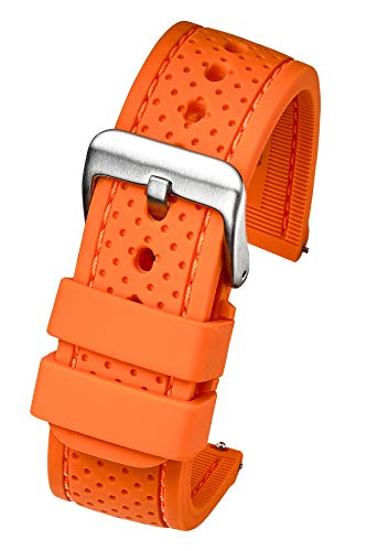(Premium Quality Waterproof Silicone Watch Band Strap with Quick Release - Soft Rubber Watch Band - Soft Rubber Orange Watch Band 22mm)