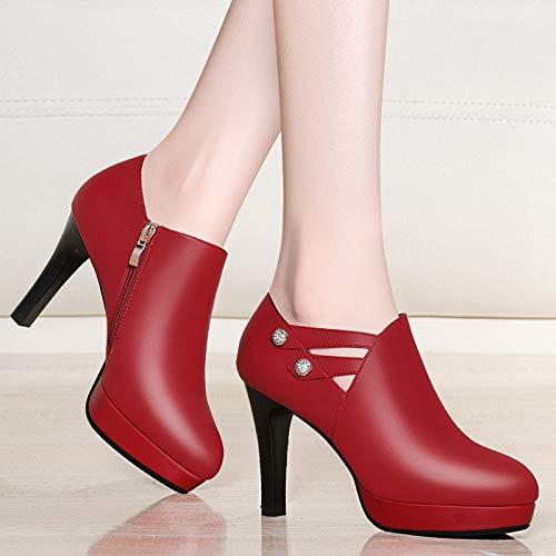 Ladies Zapatos Novia AJUNR Heel Fino Zapatos Rojo Diamante de Shoes Shoes Tacon High de Transpirable gules de Boda PSYrPqO