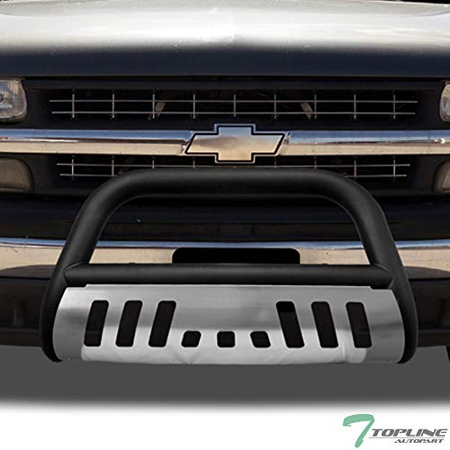Topline Autopart Matte Black Bull Bar Brush Push Front Bumper Grille Guard With Brush Aluminum Skid Plate For 99-07 Chevy Silverado / 00-06 Suburban/Tahoe ; 99-07 GMC Sierra / 00-06 Yukon 1500