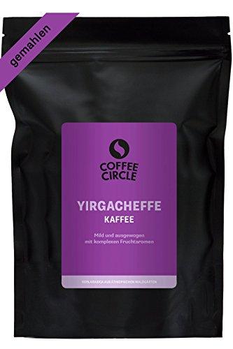 Coffee Circle Bio Kaffee Yirgacheffe - 100% bio Arabica aus dem Hochland Äthiopiens - gemahlener Röstkaffee - frisch und schonend geröstet - fair & direkt gehandelt - 350 g