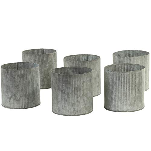 Koyal Wholesale Corrugated Zinc Cylinder Vases, Farmhouse Vases Set of 6, Gray Ribbed Metal Containers for Wedding, Rustic Planters, Succulent Flower Pots, French Galvanized Décor, Waterproof (5-Inch)